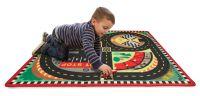 """Напольный коврик для мальчика """"Трасса для гонок"""" + 4 машинки в комплекте"""
