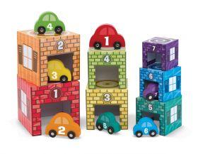 Деревянные гаражи сортировщики - набор для детей от 2 лет